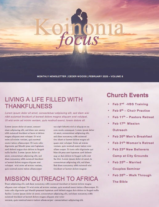 Connected Marriage Retreat Church Newsletter