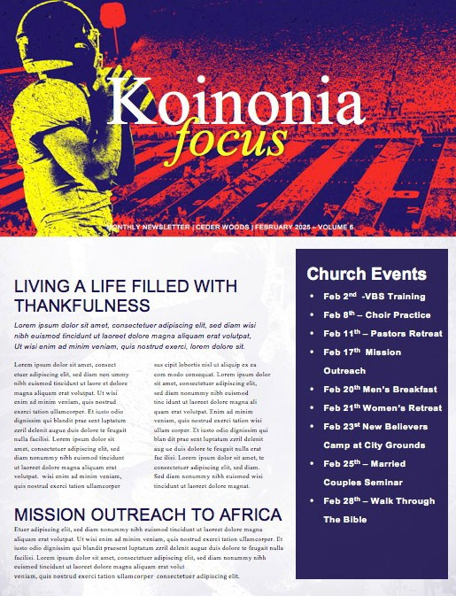 Super Sunday Football Church Newsletter