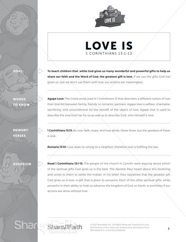 1 Corinthians 13 Love Is Curriculum