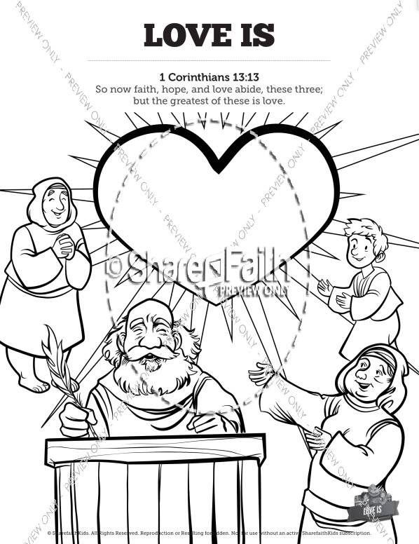 1 Corinthians 13 Love Is Sunday School Coloring Pages
