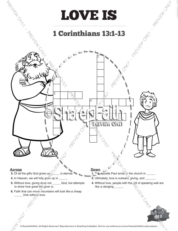 1 Corinthians 13 Love Is Sunday School Crossword Puzzles