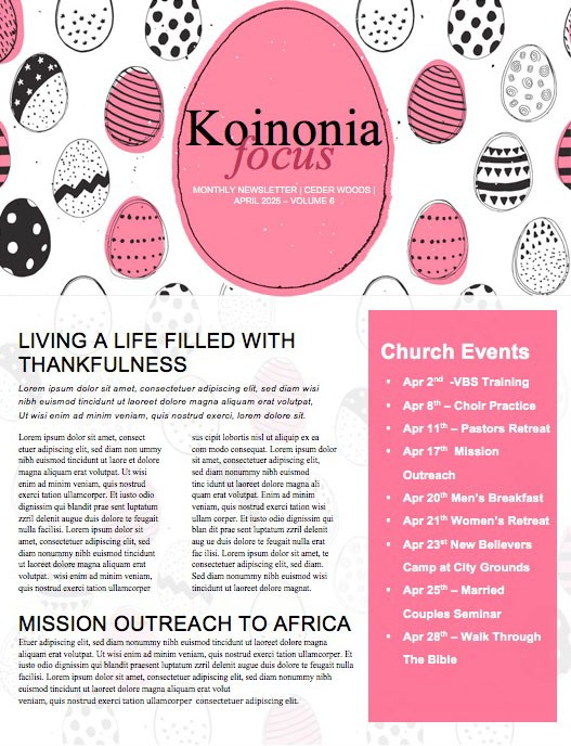 Church Easter Egg Hunt Newsletter Template