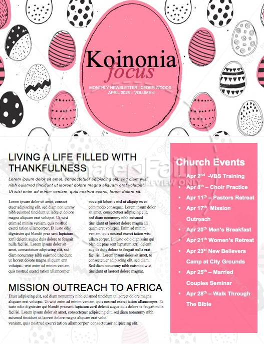 Church Easter Egg Hunt Newsletter Template