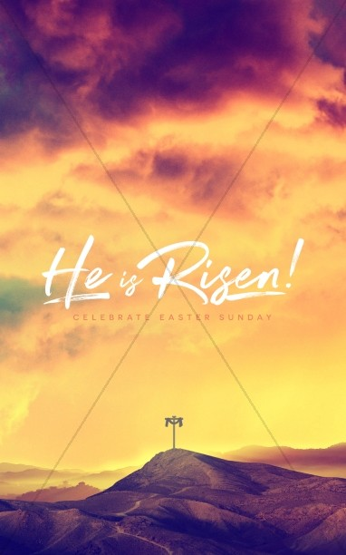 He Is Risen Easter Cross Church Bulletin