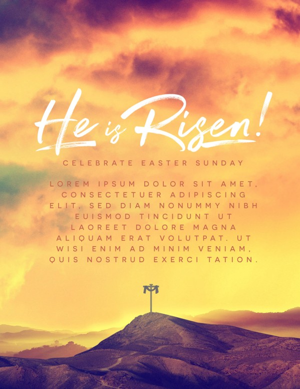 He Is Risen Easter Cross Church Flyer
