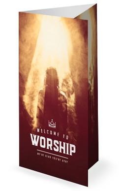 Risen King Easter Church Trifold Bulletin Template