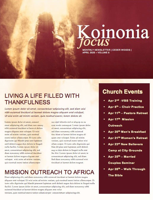 Risen King Easter Church Newsletter Template
