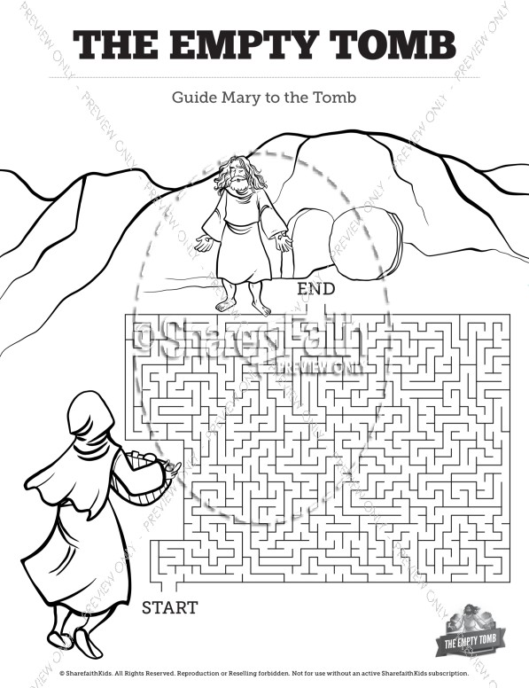 John 20 The Empty Tomb Bible Mazes