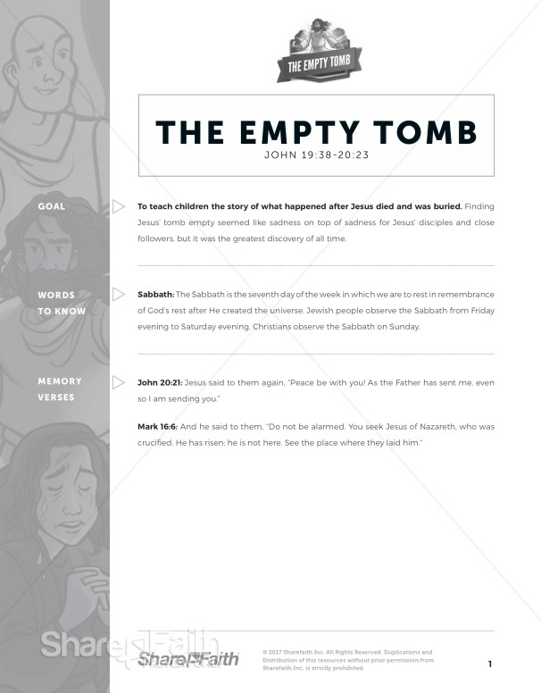 John 20 The Empty Tomb Curriculum