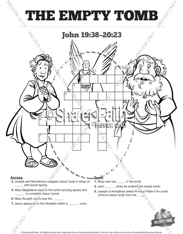 John 20 The Empty Tomb Sunday School Crossword Puzzles
