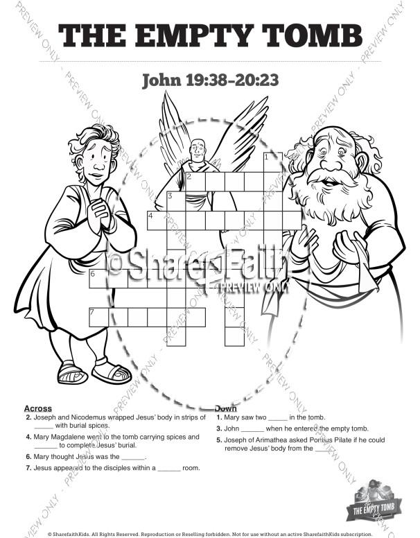 John 20 The Empty Tomb Sunday School Crossword Puzzles