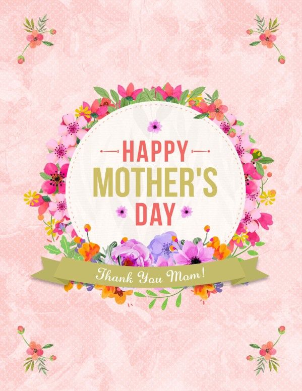 Happy Mother's Day Thank You Mom Flyer Template