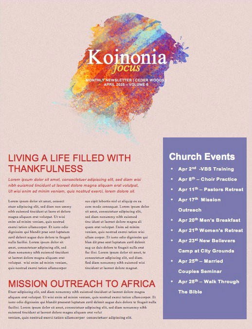 My Redeemer Lives Church Easter Newsletter