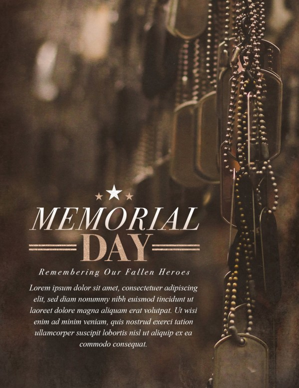Memorial Day Dog Tags Church Flyer Template