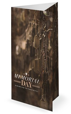 Memorial Day Dog Tags Church Trifold Bulletin