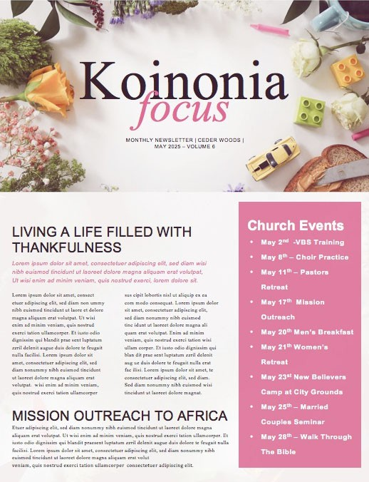 Celebrating Mother's Day Church Newsletter Template