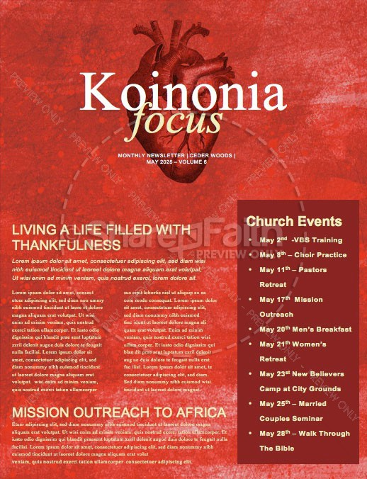 The Heart Of Prayer Newsletter Template