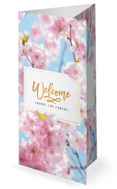 Mother's Day Cherry Blossom Church Trifold Bulletin Template