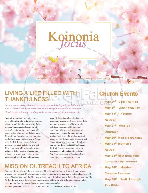 Mother's Day Cherry Blossom Church Newsletter Template