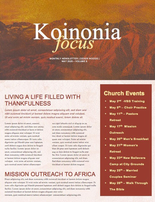 The Good Life Church Newsletter Template