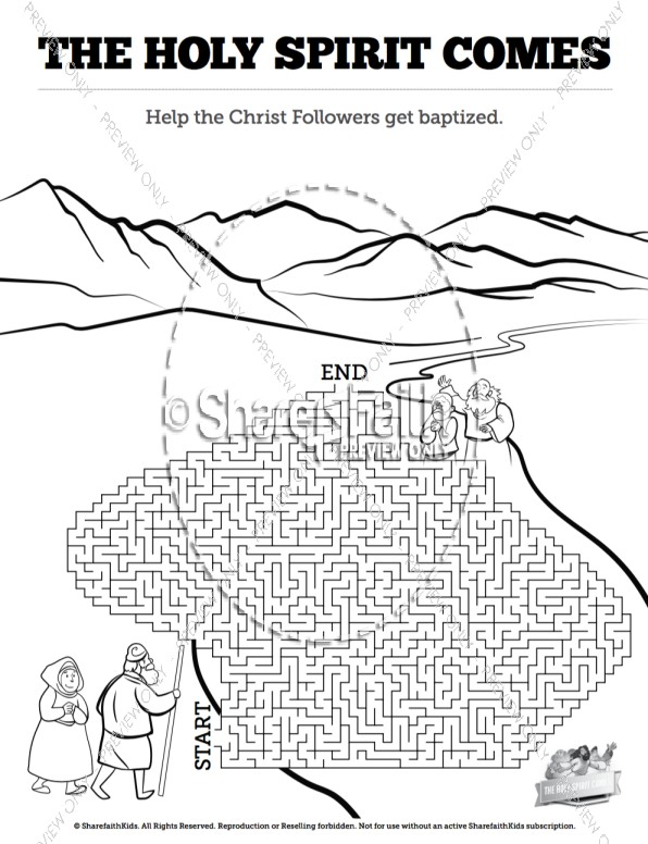 Acts 2 The Holy Spirit Comes Bible Mazes