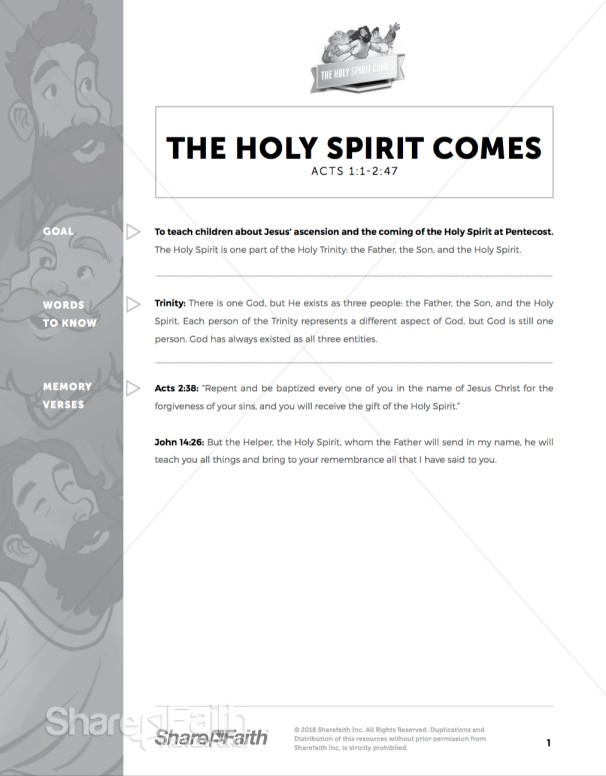 Acts 2 The Holy Spirit Comes Curriculum