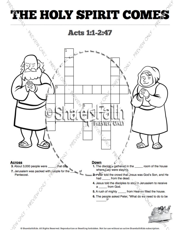 Acts 2 The Holy Spirit Comes Sunday School Crossword Puzzles