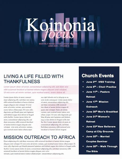 Prodigal Son Church Newsletter Template