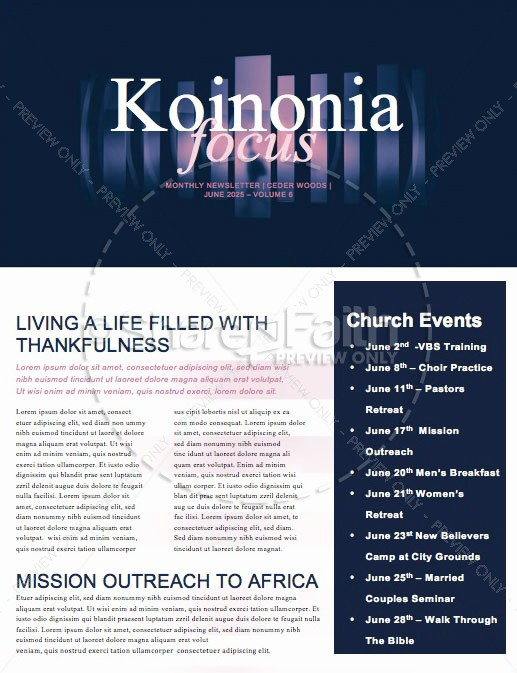 Prodigal Son Church Newsletter Template | page 1