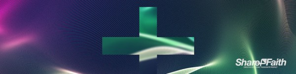 Green Cross Energy Particle Triple Wide Worship Motion Background