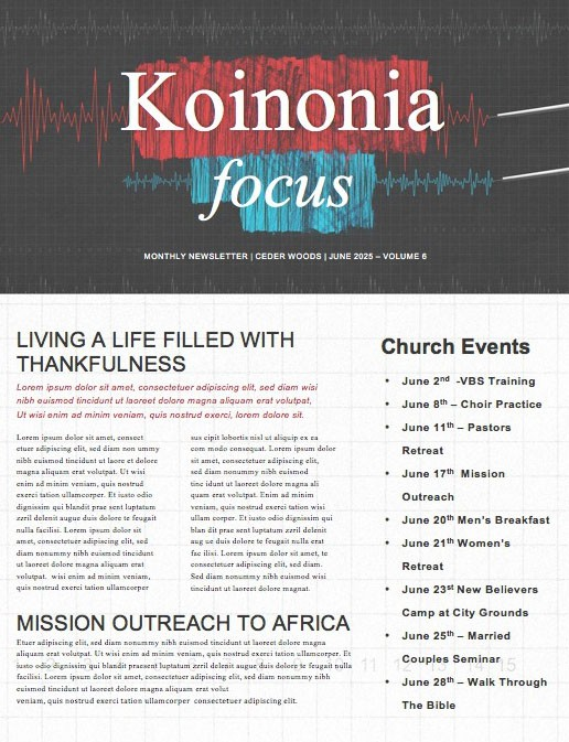 Honest To God Church Newsletter Template