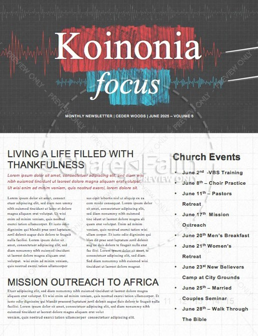 Honest To God Church Newsletter Template | page 1