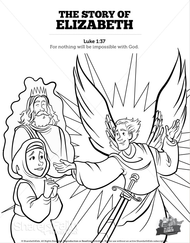 Luke 1 The Story of Elizabeth Sunday School Coloring Pages