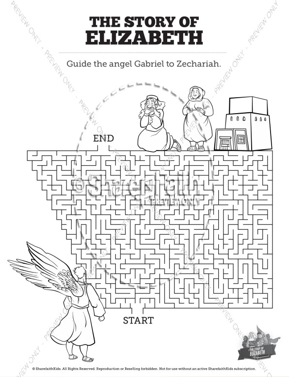 Luke 1 The Story Of Elizabeth Bible Maze