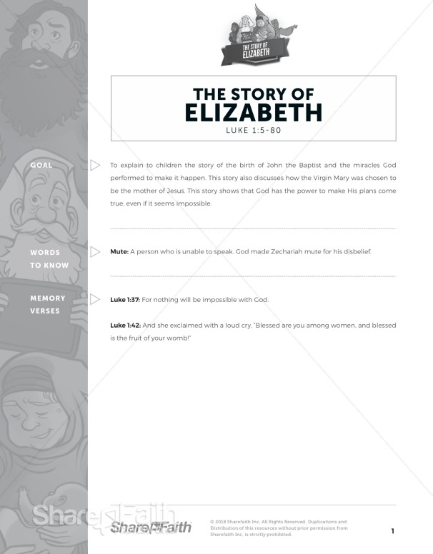 Luke 1 The Story of Elizabeth Sunday School Curriculum