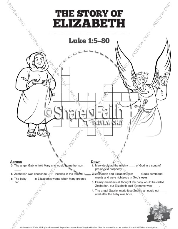 Luke 1 The Story of Elizabeth Sunday School Crossword Puzzles
