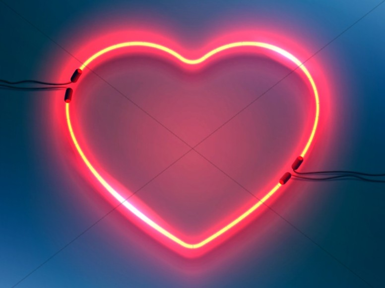 Love In Action Neon Heart Worship Background