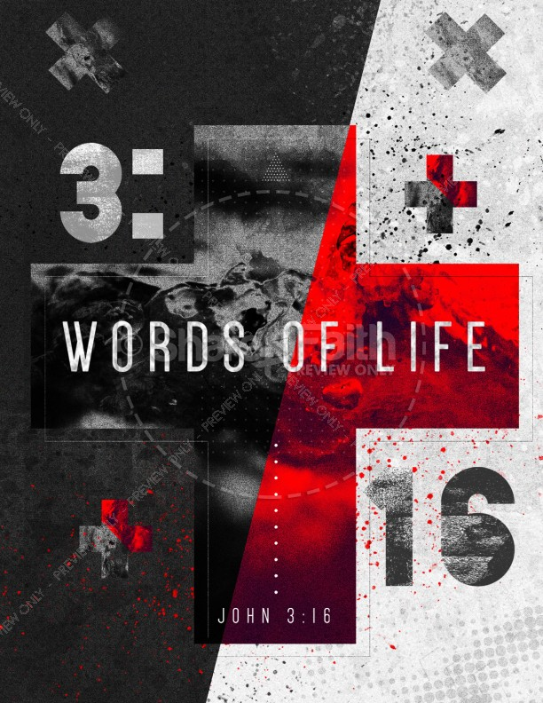 Words of Life John 3:16 Church Flyer Template