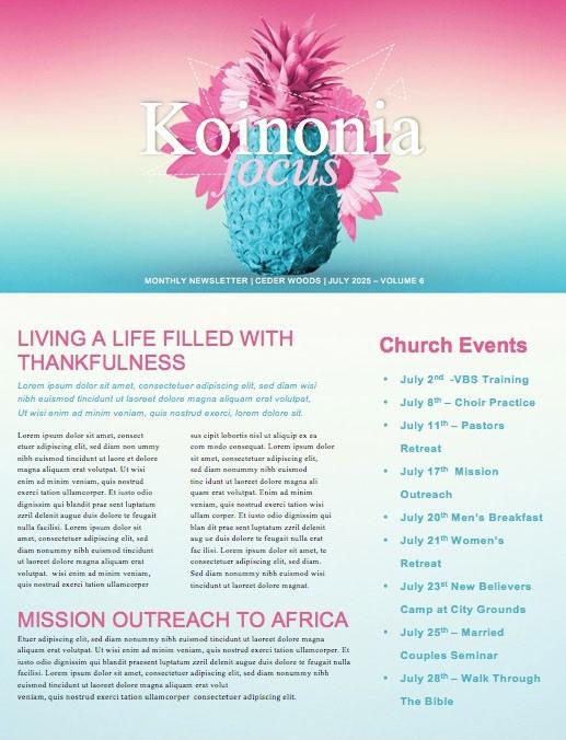 Summer Church Events Newsletter Template