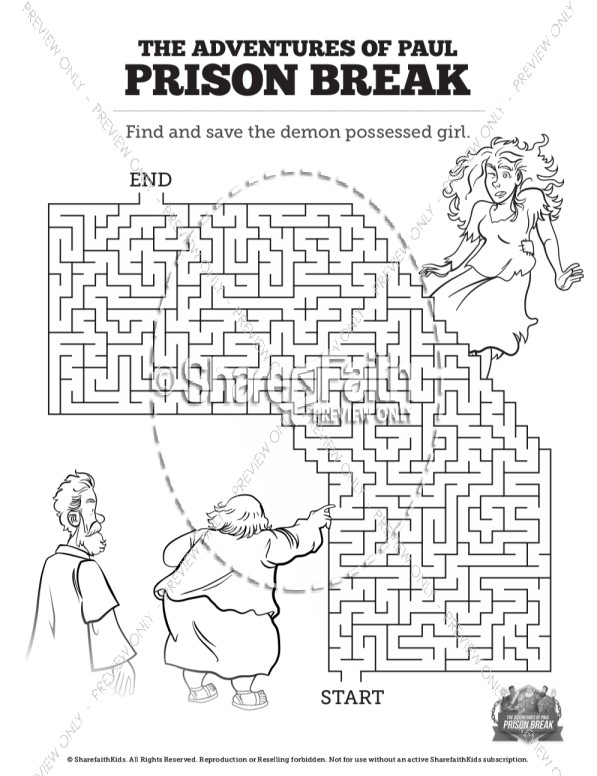 Acts 16 Prison Break Bible Mazes