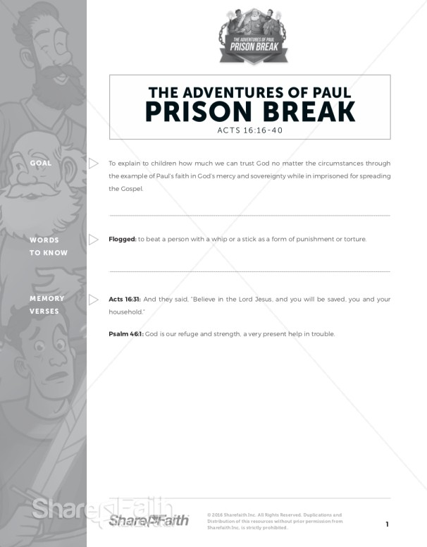 Acts 16 Prison Break Sunday School Curriculum