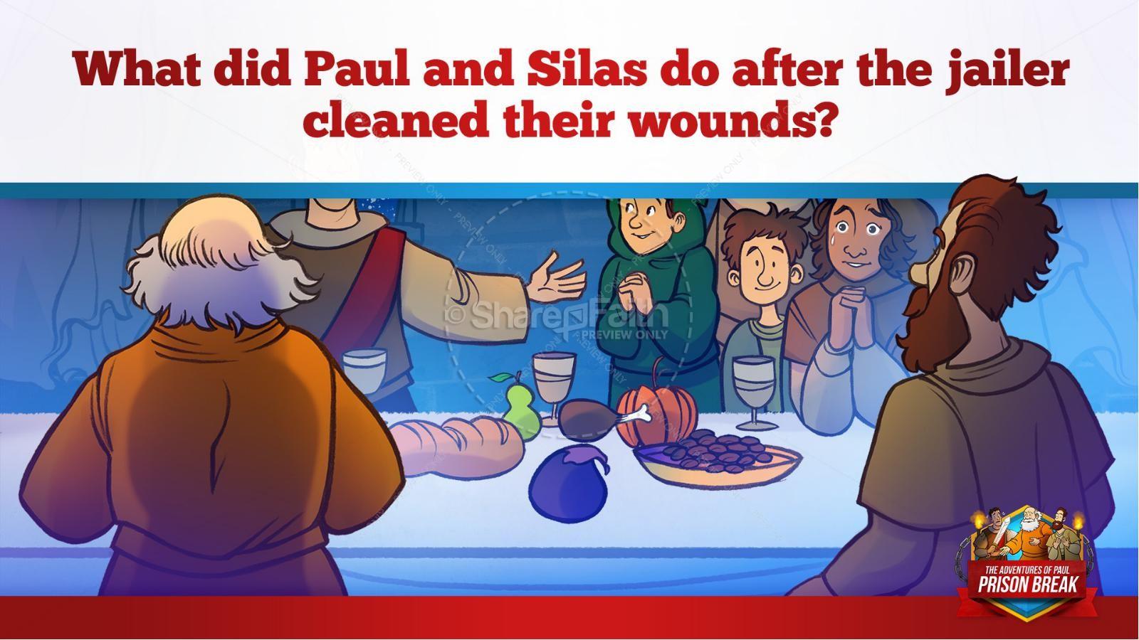 Acts 16 Prison Break Kids Bible Story | slide 35