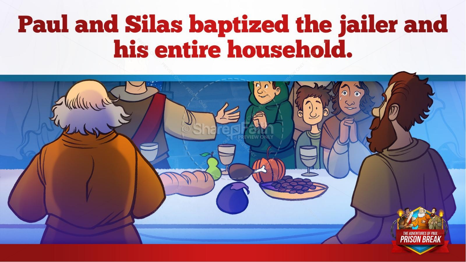 Acts 16 Prison Break Kids Bible Story | slide 36