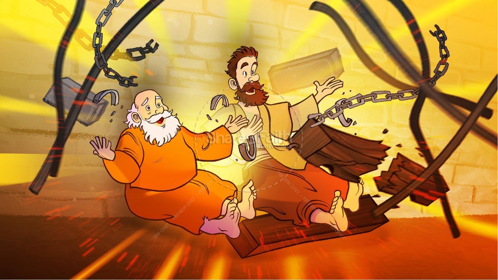 Acts 16 Prison Break Kids Bible Story | slide 6