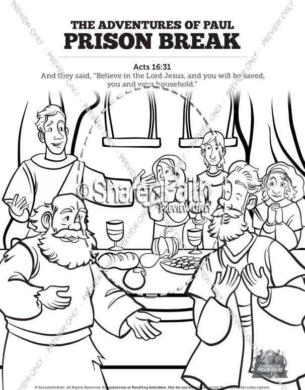 Acts 16 Prison Break Sunday School Coloring Pages
