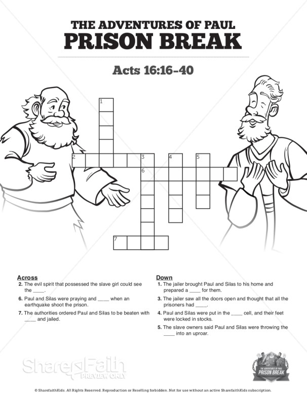 Acts 16 Prison Break Sunday School Crossword Puzzles