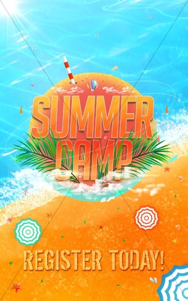 Church Summer Camp Beach Bulletin Cover
