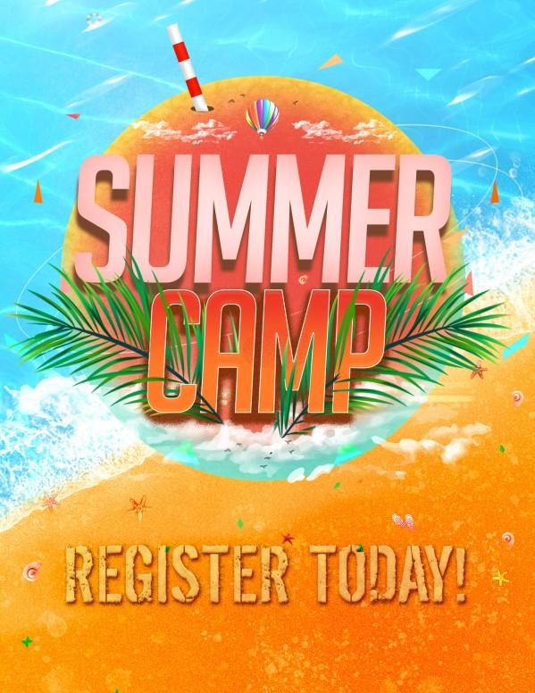 Church Summer Camp Beach Flyer Template