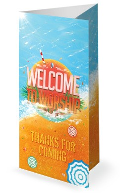 Church Summer Camp Beach Trifold Bulletin Cover