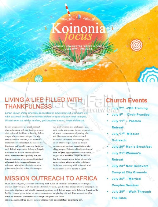 Church Summer Camp Beach Newsletter Template